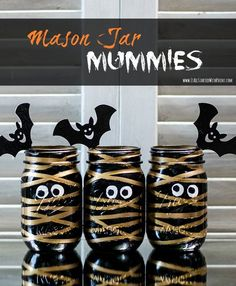 Halloween Craft: Mason Jar Mummies