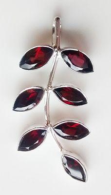Garnet Leaf Pendant