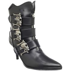 Fury Skull Buckle Witchy Ankle Boot by Demonia Footwear in Black ($75) ❤ liked on Polyvore featuring shoes, boots, ankle booties, black ankle booties, short black boots, black ankle bootie, ankle boots and bootie boots