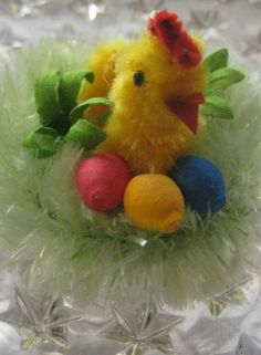 Czech Republic spun cotton and chenille Easter chick on nest
