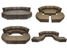 This highly unique modern sofa is composed of 5 total pieces. Each piece interlocks like a puzzle and all pieces can be separated to create a very spacious seating area.