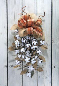 Cotton Boll Door Swag, Natural Cotton Bolls, 2nd Anniversary Gifts, Wedding Decor, Primitive Cotton Decor, Door Swags, Burlap & Linen Leaves