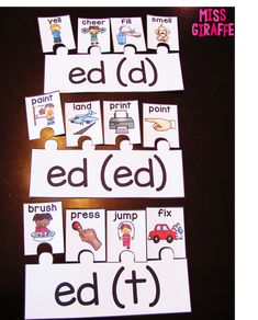 Sounds of ED Puzzles that are super fun practice for inflectional endings {Prefixes and Suffixes Teaching Ideas for First Grade and Kindergarten blog post}