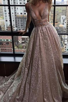 A-Line Deep V-Neck Court Train Open Back Sequined Prom Dress with Beading PM82