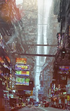 As you will see further down the board, I enjoy pictures like this that are made to be set in a future urban city. The general idea in most is that we run out of space to expand so instead we build upwards. This shows that perfectly as you can see how high it really rises.