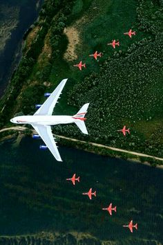 The Red Arrows flying with British Airways A380 at The Royal International Air Tatoo
