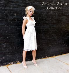 LOVE as a possible rehearsal dinner dress! A Love Story Dress Ivory Lace MadetoOrder by AmandaArcher on Etsy, $295.00