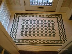 Traditional hex tile patterned entryway, suitable for Victorian house. White, black, sage hex tile. - source: http://www.houzz.com/photos/3878026/Entrance-mosaic-floor-traditional-entry-montreal: