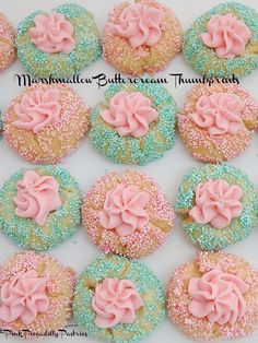 marshmallow fluff recipes Pink Piccadilly Pastries: Thumbprint Cookies with Pink Marshmallow Fluff Buttercream Marshmallow Fluff Frosting, Marshmallow Fluff Recipes, Pink Cookies, Lemon Cookies, Sugar Cookies, Pink Marshmallows, Thumbprint Cookies Recipe, Cookie Table, Buttercream Recipe