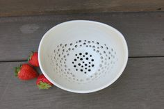 $40 Handmade by Licia Lucas-Pfadt. Simple White Berry Bowl Strainer Ceramic by ShadyGrovePottery