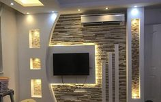 26 diy entertainment center ideas and designs for your new home page 18 House Design, Ceiling Design Bedroom, Bedroom False Ceiling Design, Modern Tv Wall Units, Tv Wall Design, Home Interior Design, Living Room Design Modern, Living Room Tv Unit Designs, Living Design