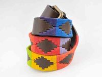 'Rainbow' Argentine Leather Polo Belt brown leather with red, orange, yellow, lime, blue,purple, lilac