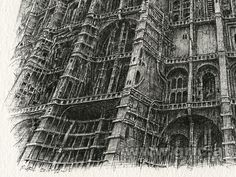 """Peter Gric, original drawing """" Tower 2015-12-03"""", ink on paper"""