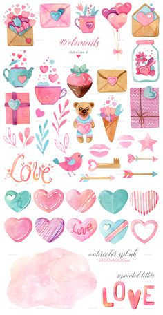 Buy Watercolor Valentines Day Collection by Astaru on GraphicRiver. Watercolor Valentines Day Collection This set is great for invitations, scrapbooking, cards, stickers and more. Printable Planner Stickers, Journal Stickers, Scrapbook Stickers, Scrapbook Paper, Printables, Valentines Watercolor, Valentines Day Drawing, Tumblr Stickers, Diy Stickers