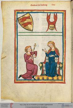 Cod. Pal. germ. 848  Große Heidelberger Liederhandschrift (Codex Manesse)  Zürich, ca. 1300 bis ca. 1340 Folio: 181v