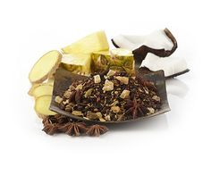 Cha Yen Thai Black Tea: Rooibos tea, Assam black tea, candied pineapple pieces, coconut rasps, coconut chips, star anise, roasted chicory root, ginger pieces, cardamom, cloves