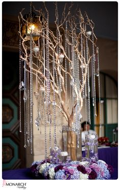 Beautiful Prado at Balboa Park Wedding by Monarch Weddings Wedding Table Setup, Wedding Reception Flowers, Bling Wedding, Glitter Wedding, Wedding Boxes, Purple Wedding, Wedding Themes, Wedding Day, Crystal Centerpieces