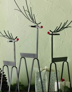 Adornos y Decoración de Metal Rústicos para Navidad Cheap Gift Bags, Cheap Gifts, Reno, Ideas, Christmas, Furniture, Home Decor, Wood, Holiday Ornaments