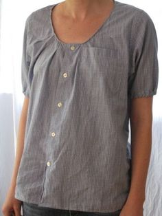 Repurpose a men's shirt into a woman's blouse