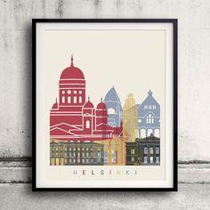 Helsinki skyline poster  Fine Art Print Glicee by Paulrommer