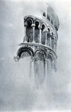 Arches of the Apse of the Duomo, Pisa by John Ruskin Arches de l'abside du Duomo, Pise de John Ruskin Pisa, Watercolor Architecture, Architecture Drawings, Drawings Of Buildings, Architecture Career, Architecture Artists, Concept Architecture, Architecture Antique, John Ruskin