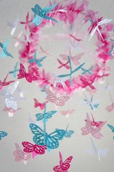 Nursery Mobile  Hot Pink & Aqua Butterfly by LoveBugLullabies, $63.00