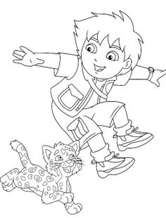 Go Diego Go And Jaguar Coloring Pages - Diego Coloring Pages : KidsDrawing – Free Coloring Pages Online