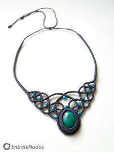 Delicate deep grey-blue macrame necklace with a by EntreteNudos