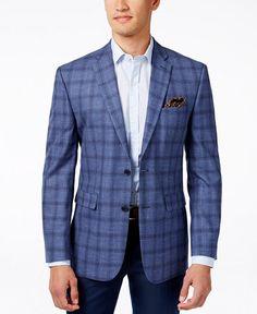 Vince Camuto Men's Slim-Fit Blue Windowpane Sport Coat