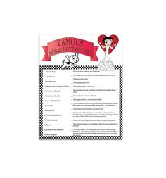 Printable Betty Boop Bridal Shower Game  Famous by TheVintagePen