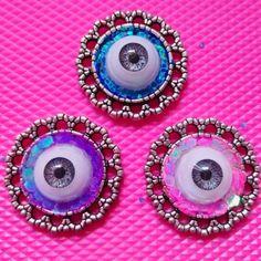 Eye+brooch+handmade.+  Pink+and+purple+glitter  So+shiny+and+creepy