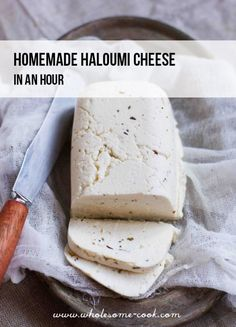 Homemade Halloumi Cheese Recipe - in an hour. - New Ideas Halloumi Cheese Recipes, Haloumi Cheese, How To Make Cheese, Food To Make, Making Cheese, Microwave Recipes, Cooking Recipes, Homemade Cheese, Homemade Butter