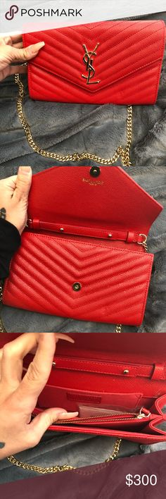 Red leather bag Gorgeous red leather bag, gold hardware, NO it's not ysl. But for people who are actually familiar with bags - you see the quality - this is a steal! Yves Saint Laurent Bags Shoulder Bags