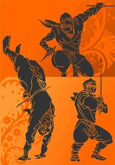 Ninja Clipart - Extreme Vector Clipart for Professional Use (Vinyl . Arte Ninja, Ninja Art, Shuriken, Guerrero Ninja, Ninja Shadow, Ninja Games, Samurai Artwork, Art Of Fighting, Japanese Warrior