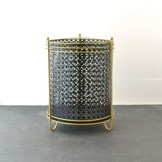Mid Century Trash Can - Metal Waste Basket - Vintage Trash Can - Black Gold - Office