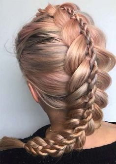 100 Ridiculously Awesome Braided Hairstyles: Stacked Dutch Braids - Hairstyles For All Different Braid Hairstyles, Unique Braided Hairstyles, Cool Braid Hairstyles, Hairstyles 2018, Bridal Hairstyles, Updo Hairstyle, Braided Updo, Unique Braids, Fancy Hairstyles