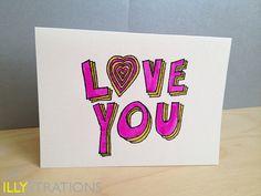 Love You Notecard. $4.50, via Etsy.