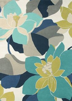Diva Rug by Scion - Kingfisher : Wallpaper Direct Abstract Watercolor Art, Abstract Flowers, Watercolour, Chalk Paint Colors, Scion, Color Stories, Rugs Online, Abstract Pattern, Soft Furnishings