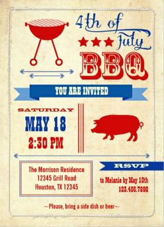 4th of July BBQ pig roast invitations.