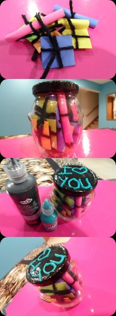 Something cute to surprise your boyfriend with! Take some colored paper and cut them into squares. Then write on each piece something you love about him. Roll them up or fold them, tie them and put them in a jar. Decorate the jar and boom! A gift that will definitely make your boy smile :)