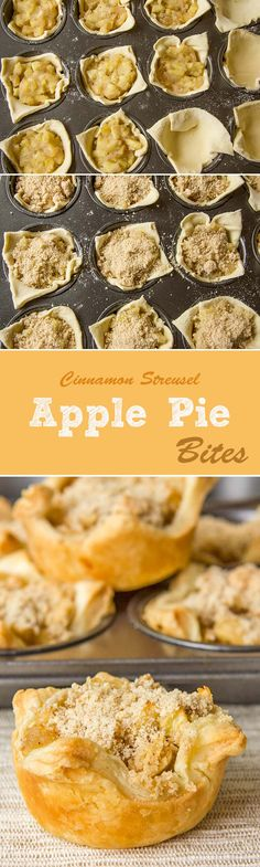 Apple Pie Bites with Cinnamon Streusel.  Holy crap, SO EASY, and delicious.  I'm making another batch tonight.  Each tube of crescent roll dough makes ~9 mini pies.
