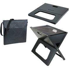 Portable and easy to set up charcoal grill. $46.99 http://www.campingpackinglist.org/picnic-time-portable-charcoal-x-grill/