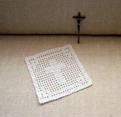 Christian Cross Filet Crochet Doily, Spiritual, Catholic Prayer Corner Accent, New by NutmegCottage on Etsy