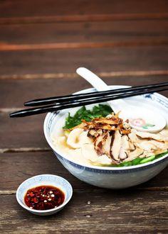 {Handmade noodle soup.}