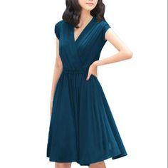 f4b36a96e98f Allegra K - Women s Cinched Waist Cross V Neck Dress Blue (Size L   12) -  Walmart.com