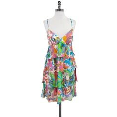 Pre-owned Trina Turk MultiColor Neon Print Silk Dress ($99) ❤ liked on Polyvore featuring dresses, multi, cross back dress, colorful cocktail dress, colorful dresses, pattern dress and surplice dresses