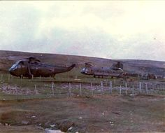 846 NAS Sea King and 18Sqn Chinook ZA 18 BN 'Bravo November' at Port San Carlos, Falklands, May 1982