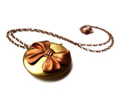 Vintage Locket Necklace  Big Bow Jewelry Retro Fashion by Modrn, $28.00