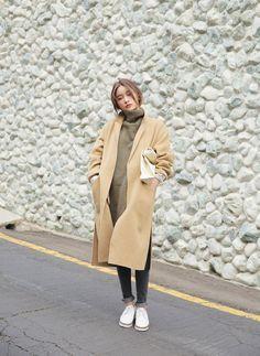 オーバーサイズウールコート(ベージュ) | レディース・ガールズファッション通販サイト - STYLENANDA