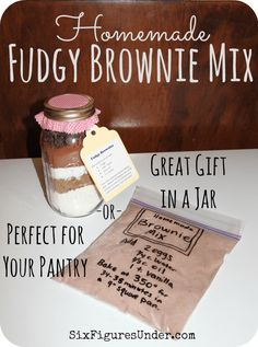 Homemade Fudgy Brownie Mix Homemade Brownie Mixes Are Perfect For Your Pantry And Layered In A Jar Make Great Gifts My Kindergartner Made These For Teacher Gifts Homemade Fudge Brownies, Brownies In A Jar, Homemade Brownie Mix, Fudgy Brownies, Brownie Mix In A Jar Recipe, Brownie Mix Recipes, Brownie Jar, Mason Jar Cookie Mix Recipe, Cookie Jars